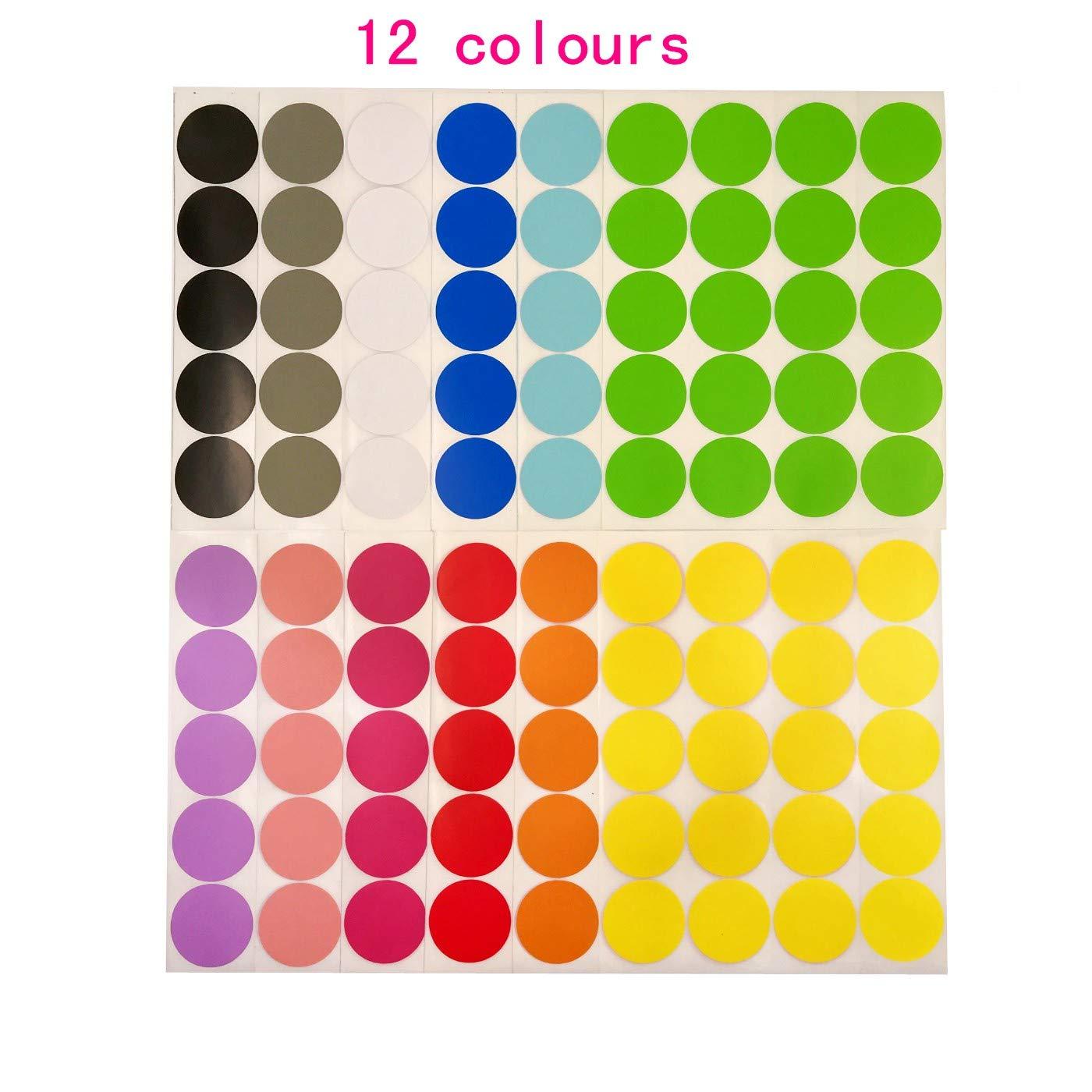 JZK 12 x Bl/ätter 50mm 12 Farben Gro/ß bunt rund Punkt Aufkleber Farbcodierung Etiketten Dots Etiketten selbstklebend Klebepunkte 240 Punkte