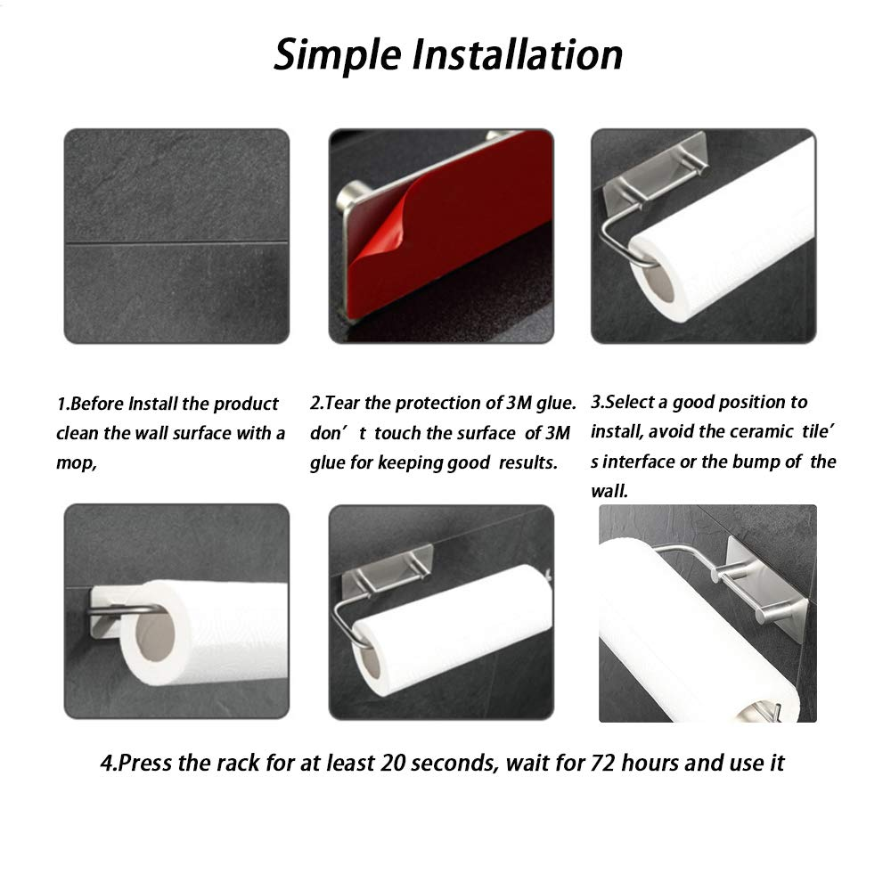 Suitable for Standard Paper Towel Roll 11.8 x 3.3 Paper Towel Holder Wall Mount-Toilet Paper Roll Holder with 3M Adhesive Mount No Drill and No Screws Great for Kitchen Bathroom