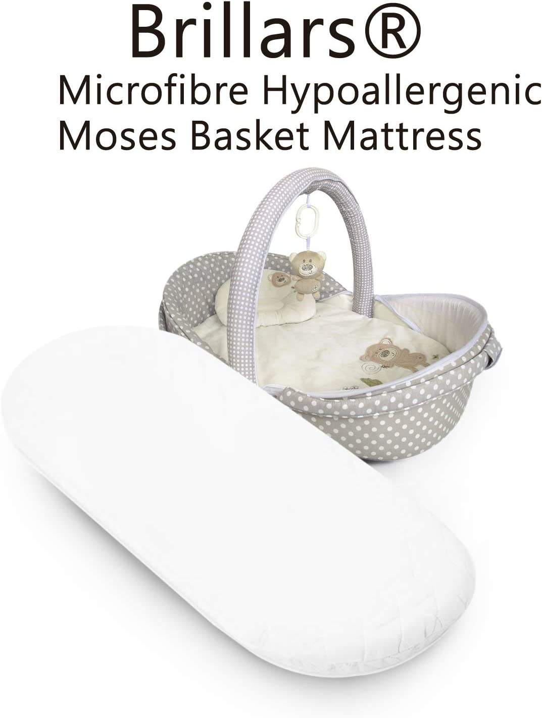 Oval Baby Cot Mattress with Removable Cover Breathable| Anti-Fungal| Foam Mattress to Fit Crib//Cradle//Pram Brillars/® Microfibre Hypoallergenic Moses Basket Mattress 72 x 28 x 4 cm