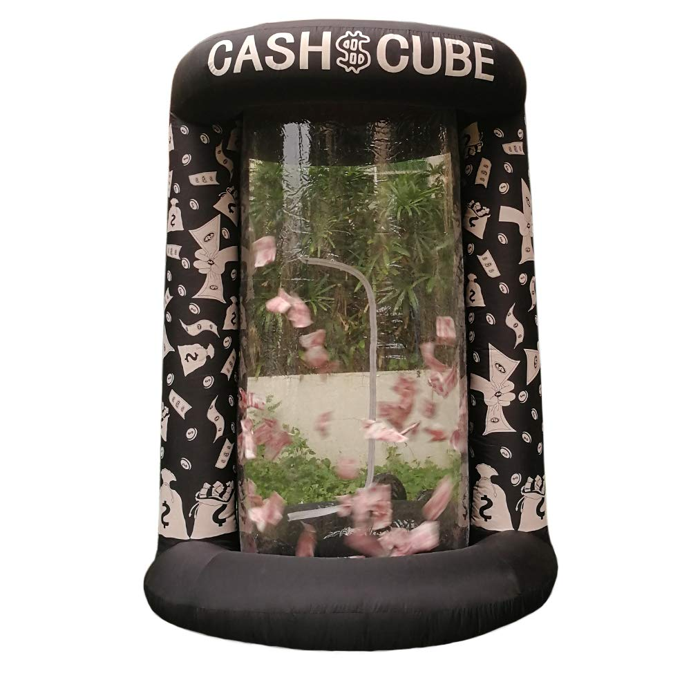 Inflatable Cash Cube Booth for Advertisment, Inflatable Money Grab Machine for Event (No Blower Included) (Black)