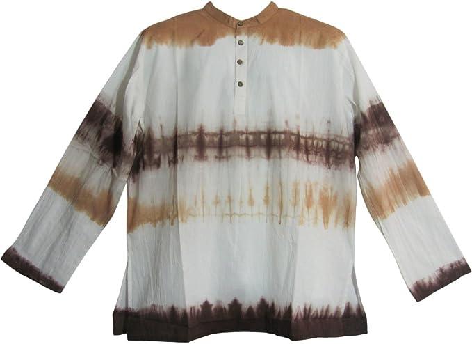 Yoga Trendz Mens Bohemian Cotton Tie-Dye Long Sleeve Mandarin Collar Tunic Shirt Minesh