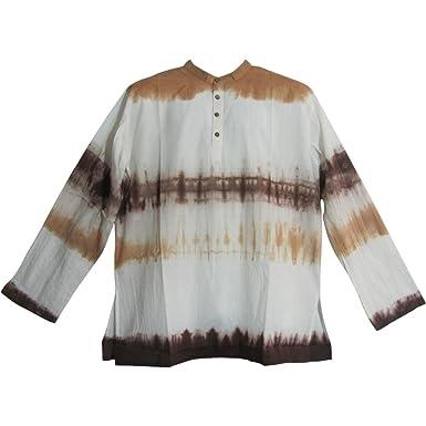 014efaffa8d Yoga Trendz Mens Bohemian Cotton Tie-Dye Long Sleeve Mandarin Collar Tunic  Shirt Minesh at Amazon Men's Clothing store: