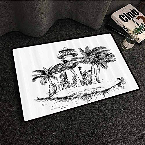 - Tropical Front Door Mat Large Outdoor Indoor Lighthouse on Island Surrounded with Palm Trees Exotic Landscape Sketchy Artwork with Anti-Slip Support W20 xL31 Black White