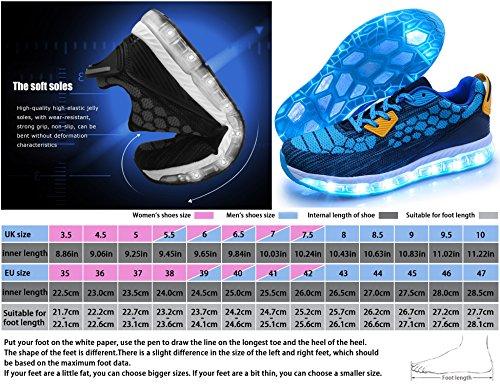 Leuchtschuhe 7 Kinder Mr Aufladen Blinkschuhe LED Ang Sport Schuhe Turnschuhe Light Licht Damen Leuchtende USB Sneaker Blau Farben Herren 1708 up 5c0ywFy
