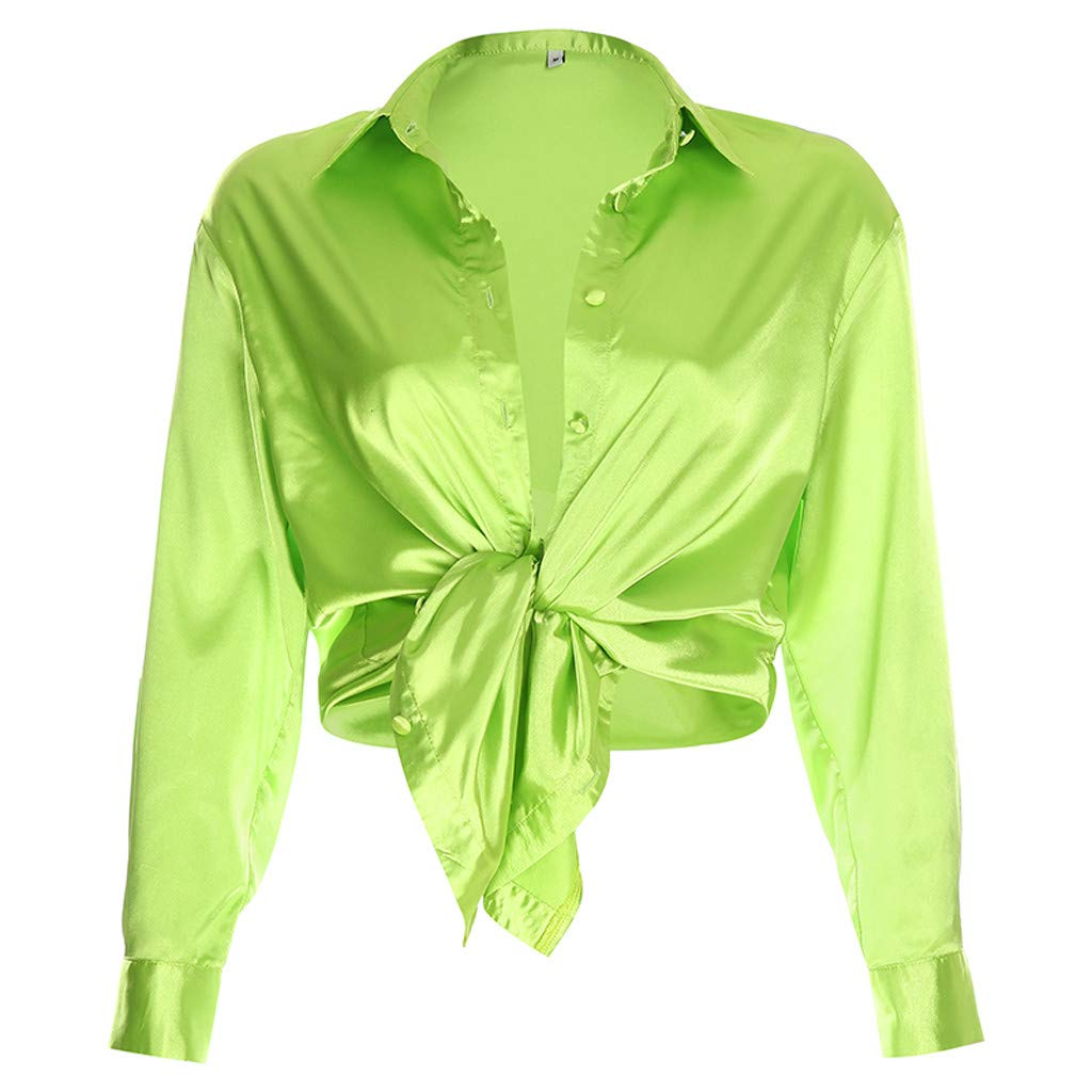 Womens Long Sleeve Beach Shirt,Women Pure Color Fashion Casual Satin Shirt Long Sleeved Top Blouse