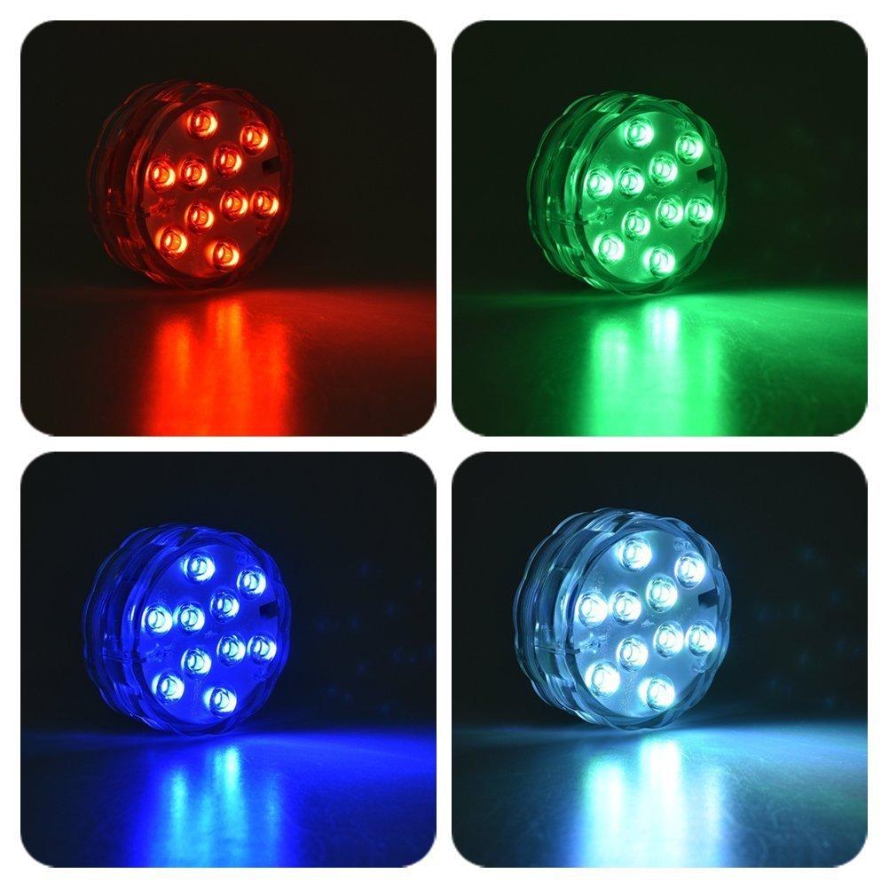 LUXJET RGB LED Licht Unterwasser Teichbeleuchtung Lichter mit Fernbedienung, 10 LEDs, Batteriebetrieben, IP68 Wasserdichte für Garten, Aquarium, Vase, Badewanne, Pool oder Spa (2er Pack,Sinken)