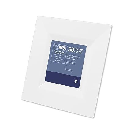 Amazon.com: 50 Premium Plastic Plates Set - Bulk White Square Dinner ...