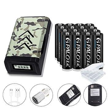 PALO 16-Pack AA 600mAh Ni-Mh Baterías recargables y cargador de batería USB AA y AAA LCD (diseño oculto del cable)