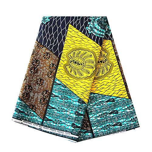 6 Yards African Wax Prints Fabric Super Wax Hollandais Dutch 100% Cotton Fabrics Material Dashiki Batik Real Floral for Dress -