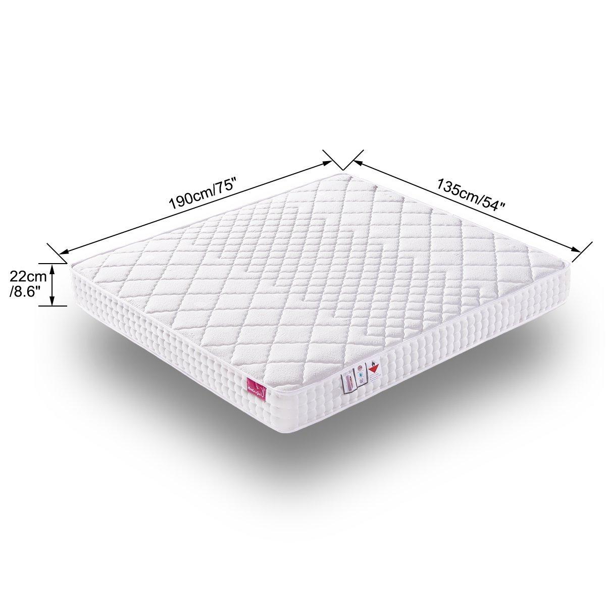 DOSLEEPS Doble colchón 4FT6 9-Zone Colchón de muelles ensacados con espuma de memoria y tela tencel - Colchón ortopédico - Grosor: 8.7 pulgadas, ...