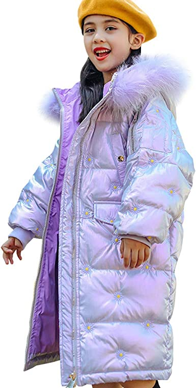 LPATTERN Kids Girls Winter Puffer Coat Warm Padded Jacket School Parka Thickened Cotton Coat Casual Quilted Coat Snow Jacket with Faux Fur Hood