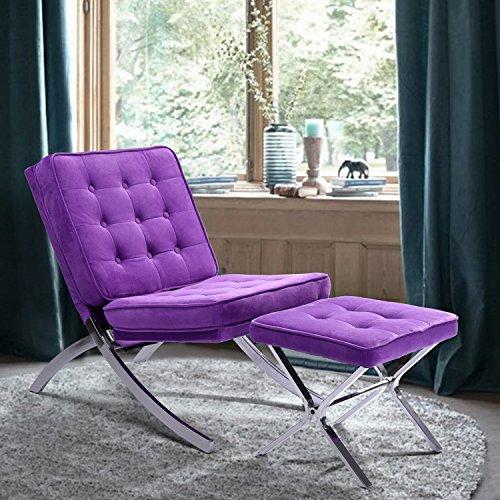 Plush Purple Fabric Chrome Frame Tufted Button Accent Lounge