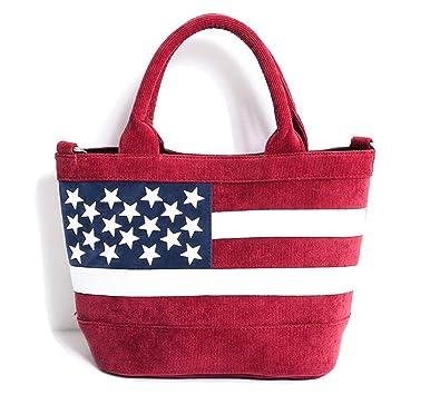 639d4a9efea5 (キャバリア)CavariA メンズ ミニ トートバッグ ショルダー 2WAY コーデュロイ スタッズ 星条旗 国旗 FREE(