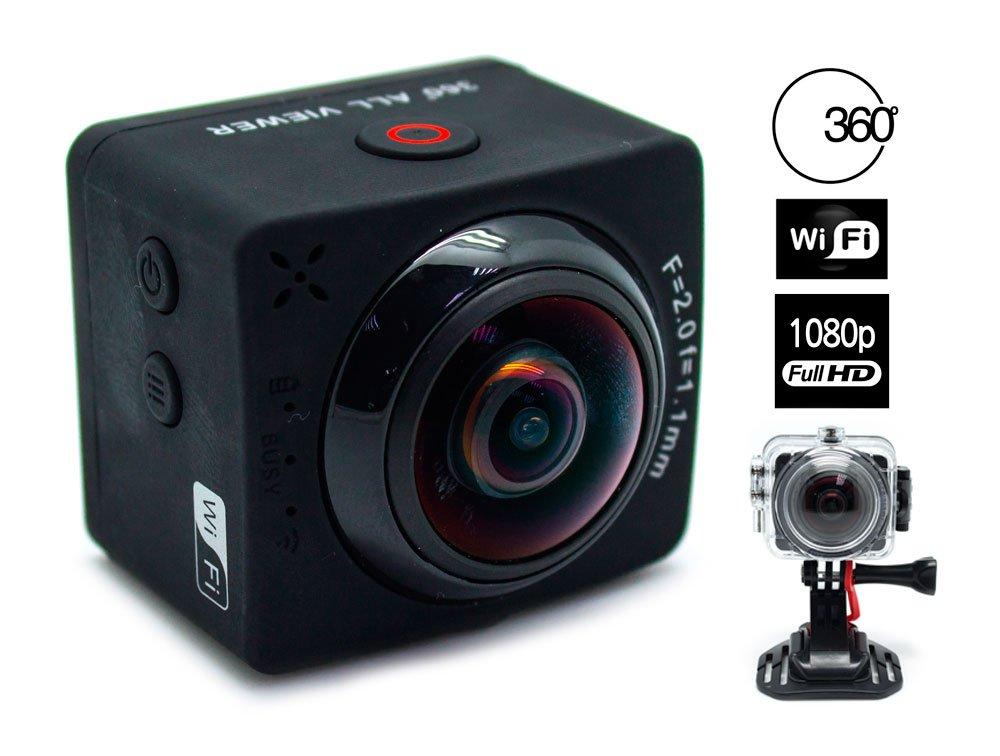 Biwond - Cámara 360º Action panorámica Full HD+WiFi+Accesorios