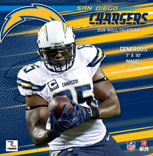 "Turner San Diego Chargers 2016 Mini Wall Calendar, September 2015-December 2016, 7 x 7"" (8040576)"