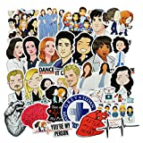 Grey's Anatomy Waterproof Stickers/Decals (50 pcs) of American TV Series for Laptop Skateboard Snowboard Water Bottle Phone Car Bicycle Luggage Guitar Computer PS4 (Grey)