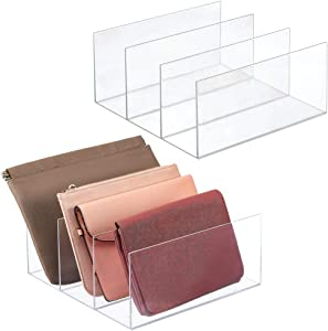 mDesign Plastic Divided Purse Organizer for Closets, Bedrooms, Dressers - Closet Storage Solution for, Purses, Clutches, Wallets, Accessories - 3 Sections, 2 Pack - Clear