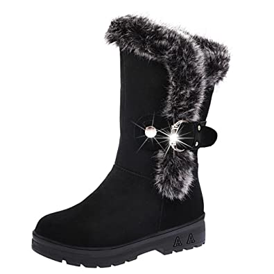 Women Soft Snow Boots Round Toe Flat Winter Ankle Boots