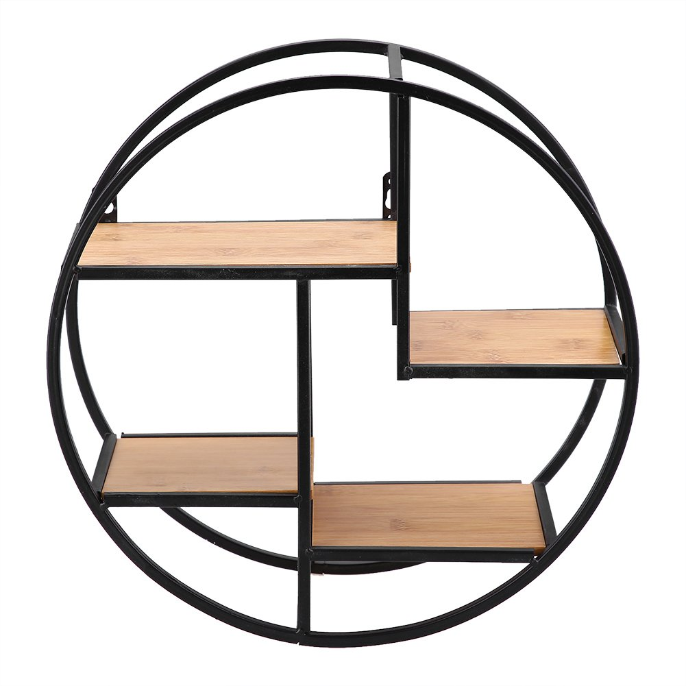 Zerone Round Wall Shelf, Industrial Style Iron Craft Round Floating Shelf Wall Display Rack Storage Unit with Wood Divider for Home Office, 37 x 37 x 14cm / 14.57 x 14.57 x 5.51inch by Zerone