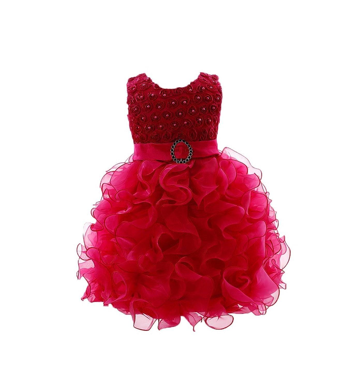 c48d7333576d9 OHmais Enfant Fille Princesse Robe tutu en dentelle Robe de Mariage Soirée  Anniversaire Cérémonie