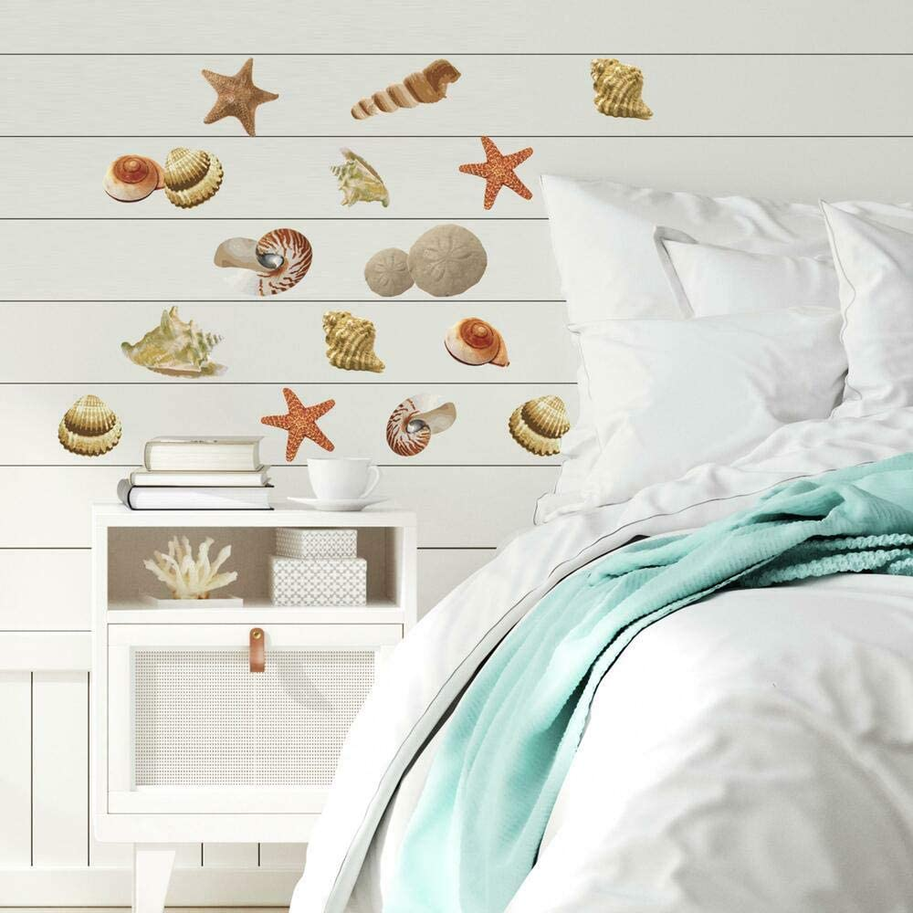 RoomMates RMK1259SCS Sea Shells Peel and Stick Wall Decals,Multicolor