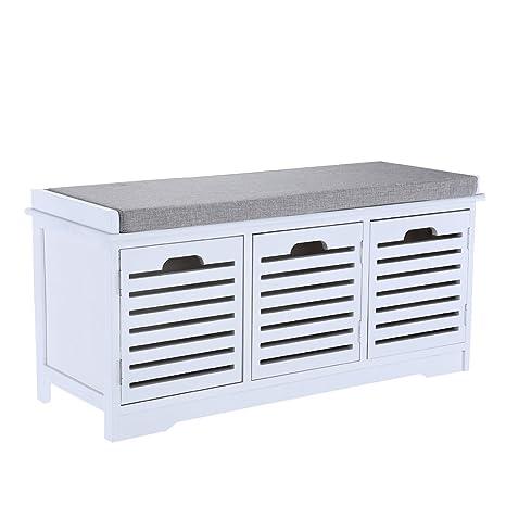 Shoe Bench Organizer Seat Cabinet Storage Shoe Cabinet With Seat Cushion CWG-01 Hallway Furniture