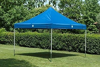 Cortina cenador para jardín 3 x 3 impermeable azul Pérgola plegable para fiere