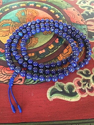 Genuine Lapis Lazuli Mala 108 Beads for Meditation by Hands Of Tibet