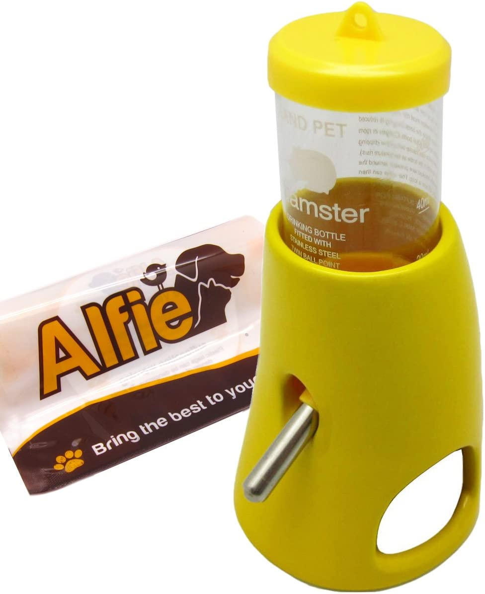 Alfie Pet - 2-in-1 Water Bottle with Ceramic Base Hut for Small Animals Like Dwarf Hamster and Mouse
