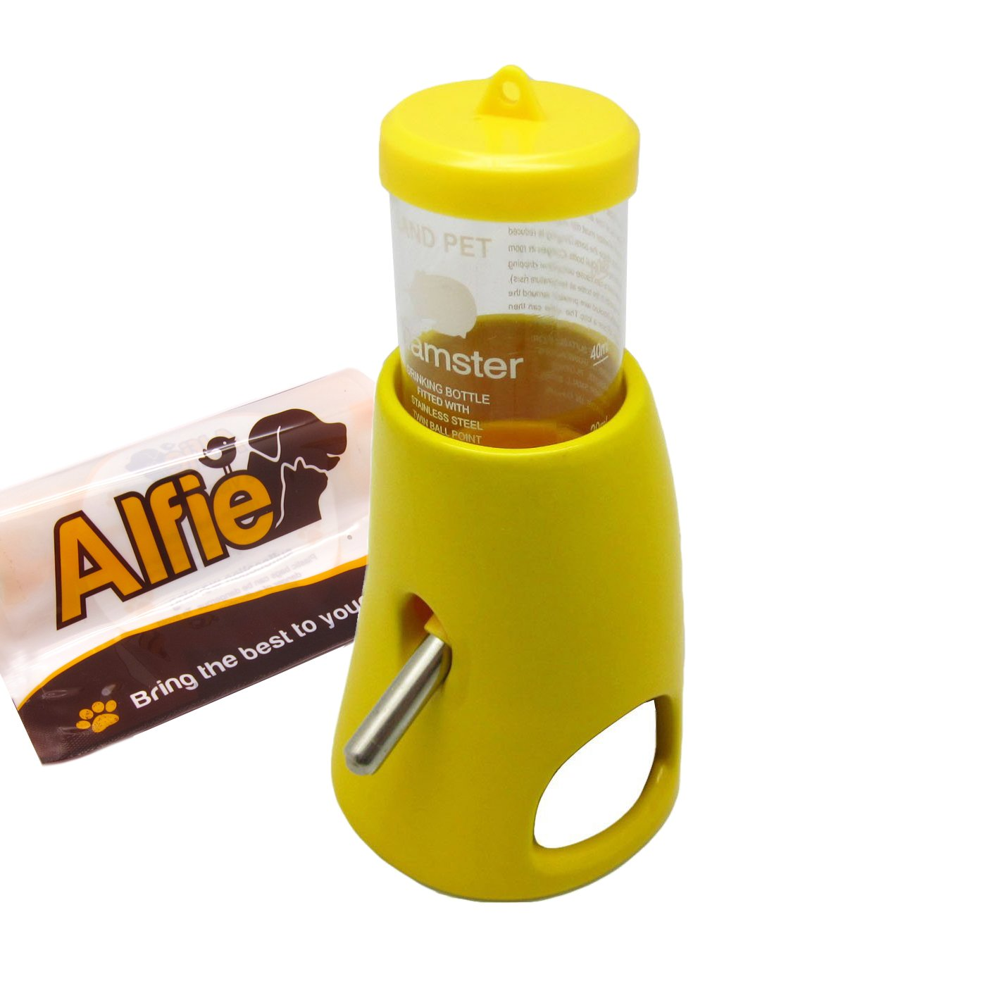 Alfie Pet - 2-in-1 Water Bottle with Hut for Small Animals Like Dwarf Hamster and Mouse - Color: Yellow