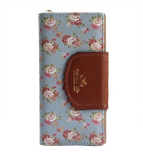 Mujer cartera lindo floral suave cuero embrague monedero compacto tarjeta caso regalo para ella (Azul