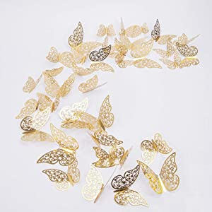 Butterfly Wall Stickers,Removable 3D Wall Decals Nursery Decor for Living Room,3 Sizes Hollow-Out Butterfly Wall Decor for Bedroom, Room Decor Mural with Dot Glue,36pcs(Gold)