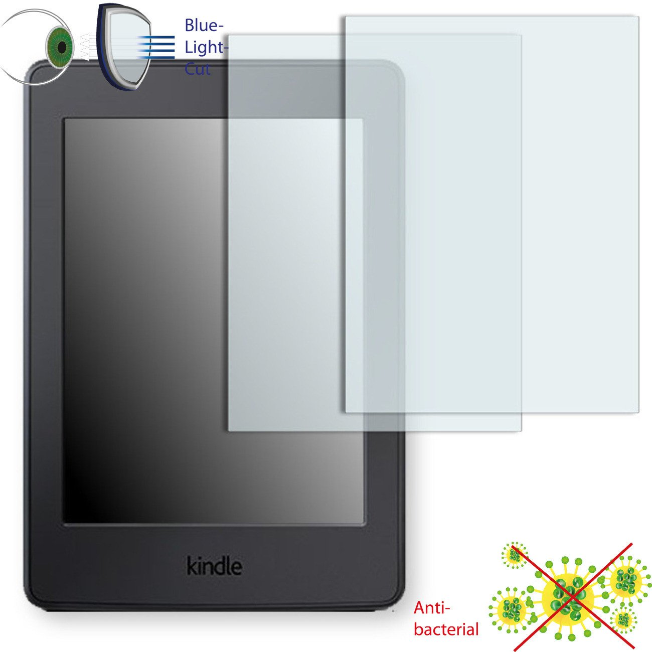 2 x DISAGU ClearScreen screen protection film for Amazon Kindle Paperwhite 3G antibacterial, BlueLight filter protective film