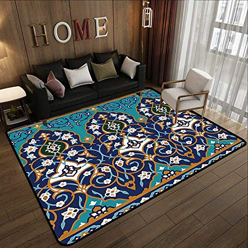 Living Room Rugs,Moroccan,Ottoman Folkloric Art Inspired Abstract Aged Middle Age Renaissance Artful Print,Navy Blue 59