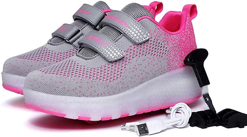 Roller Shoes Zapatos de Skate con Ruedas USB Recargables Zapatillas LED de Moda con Zapatos de Rueda, Zapatos de Patines para niños Zapatos con Ruedas con luz LED para niñas/niños: Amazon.es: Hogar