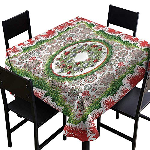 haommhome Waterproof Tablecloth Christmas Fir Wreath Ornaments Soft and Smooth Surface W36 xL36 Great for Buffet Table