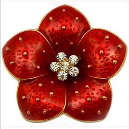 Amazon Dolland Large Poppy Flower Brooch Rhinestone Crystal