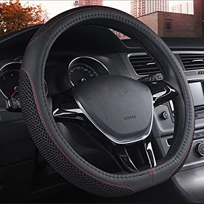 "DC Steering Wheel Cover D Type Microfiber Leather with Viscose Anti-Slip Universal 15""/38cm (D-Type Black): Automotive"