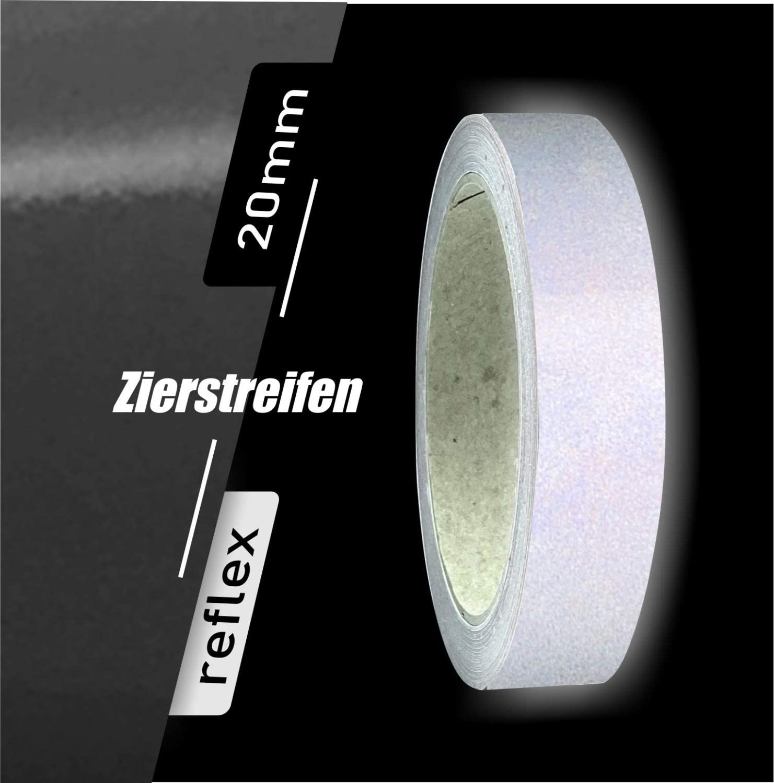 Siviwonder Zierstreifen schwarz wei/ß reflektierend Reflex Aufkleber 20mm L/änge 10m Auto Reflexband Motorrad