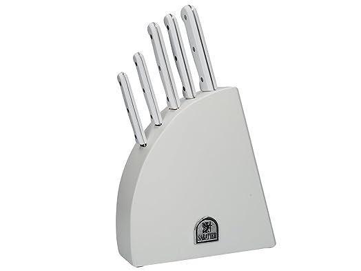 Sabatier White 5 Piece MoV Premium Kitchen Knife Block Set