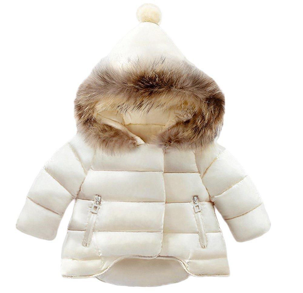 Lanbaosi Baby Girls Cute Fur Hoodie Puffer Jacket Warm Snow Coat Outerwear, White, 5
