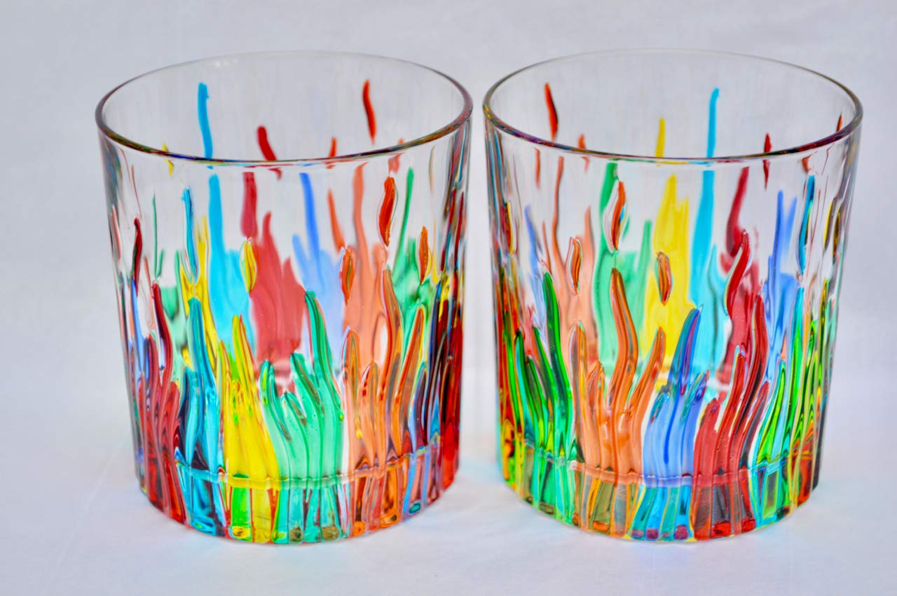 Murano Glass Highball Glasses, Fire, Set of 2 - Hand Made In Italy