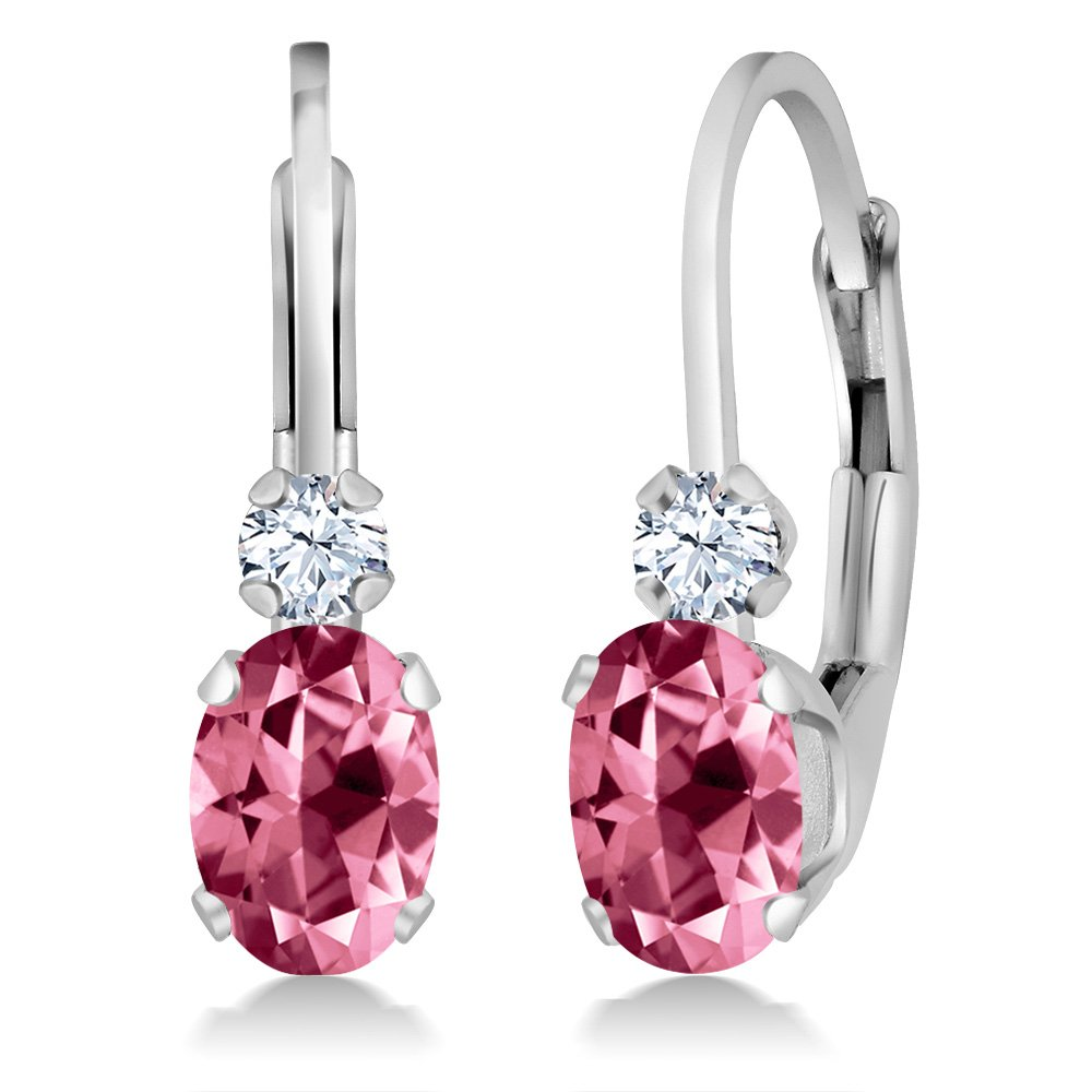 14K White Gold Earrings Created Sapphire Set with Pink Topaz from Swarvoski