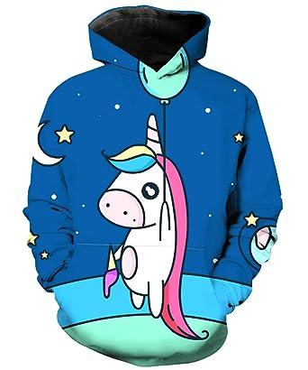 438ba2dbfac4 Amazon.com  KIDVOVOU Boys Girls 3D Galaxy Unicorn Print Sweatshirts ...