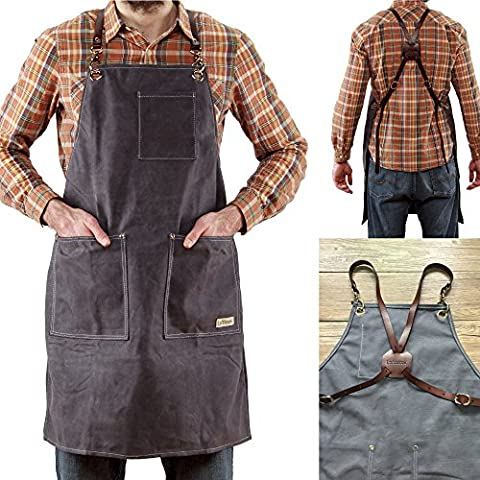 Work Apron for Men and Women by Loftbrook | 16oz Waxed Canvas Utility Bib Apron for Barbers, Woodworkers, Carpenters, BBQ | Heavy Duty Smock with Genuine Vegetable Tanned Leather Straps and (Commercial Wood Lathe)
