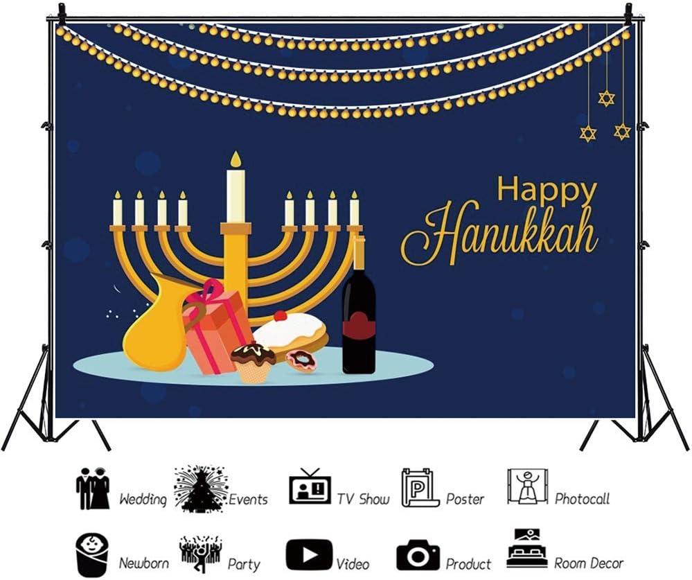 Happy Hanukkah Backdrop 8x6ft Jewish New Year Photography Background Golden Candlesticks Cartoon Honey Gift Sweet Cake Wine Celebrate Tradition Holiday Party Decor Portrait Shoot Poster