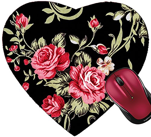 Liili Mousepad Heart Shaped Mouse Pads/Mat ID: 29041857 Red Rose Fabric Background Fragment of Colorful Retro Tapestry Textile Pattern with Floral Ornament us - Heart Shaped Mouse