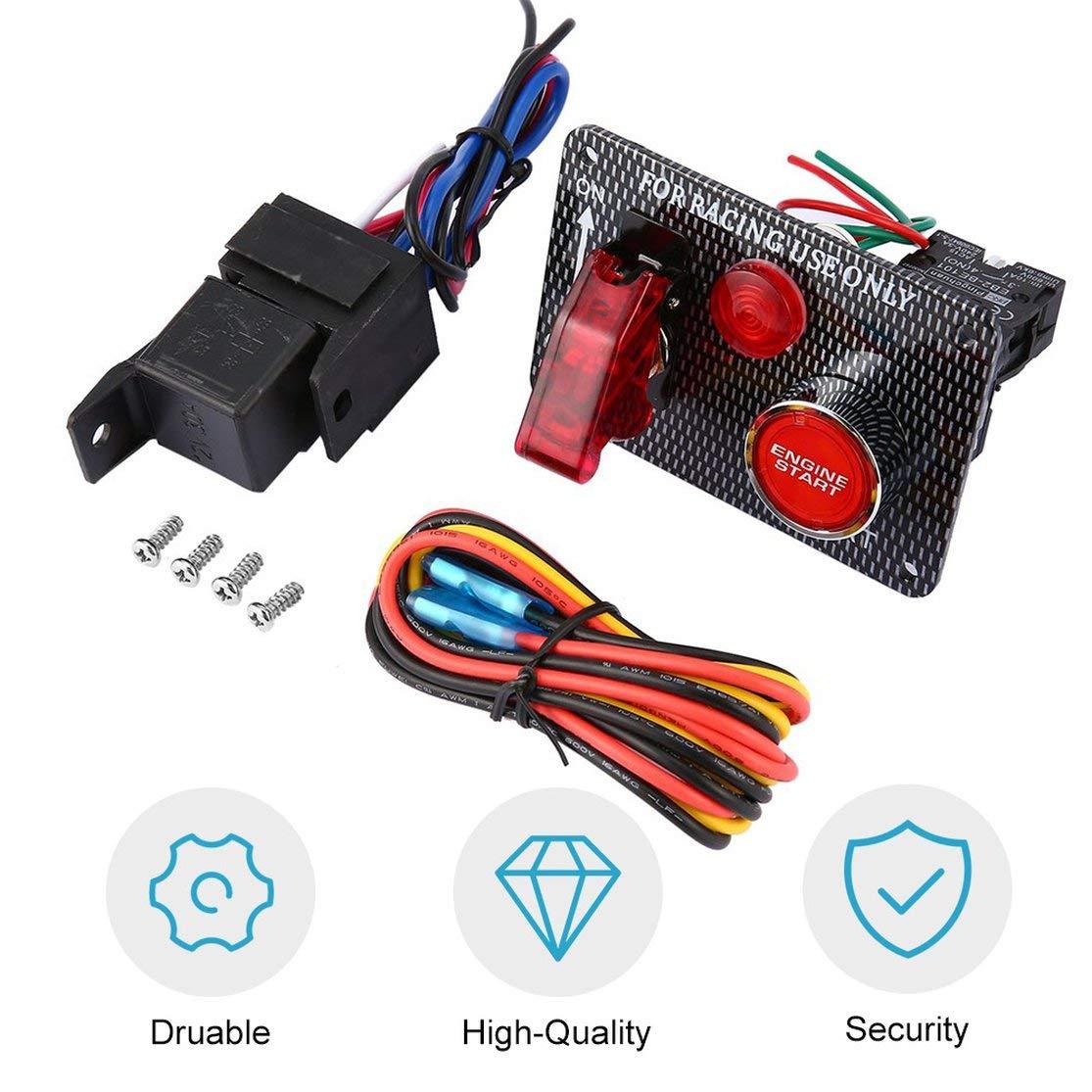 Kaemma Interruttore di accensione per Auto da Corsa 12V Pulsante di accensione del Motore per accensione a LED Interruttore a levetta a 2 velocit/à per Auto Modifica Colore: Nero