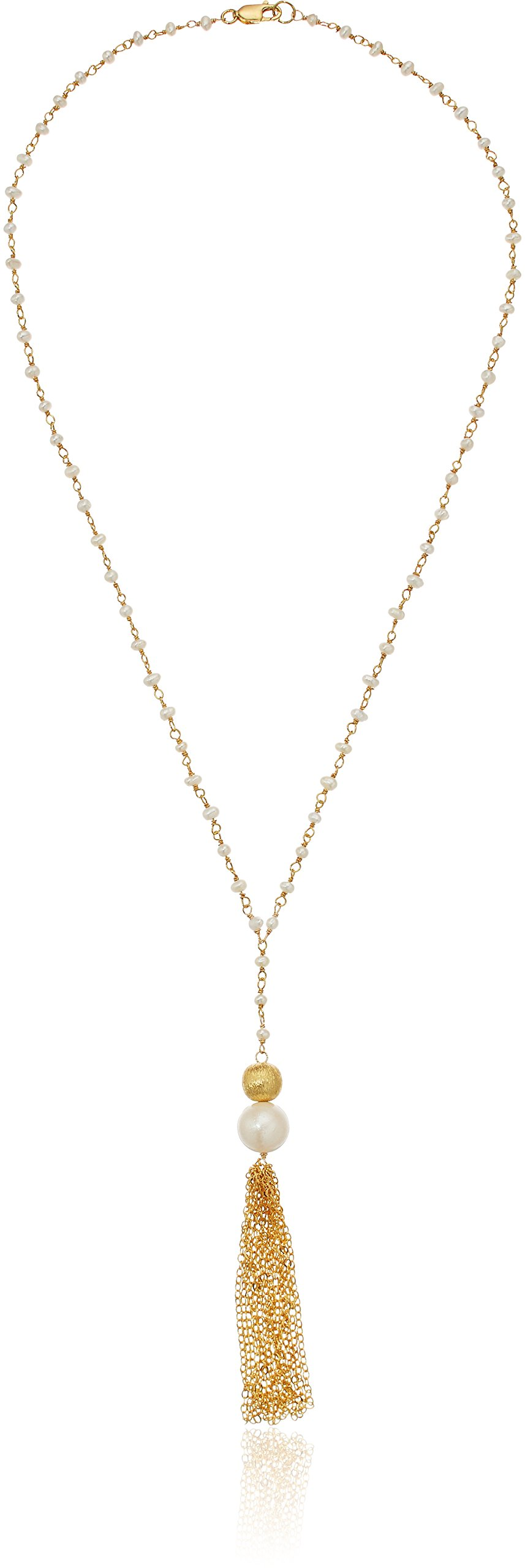 White Cultured Freshwater Pearl Linked ''Y'' Necklace with Textured Bead and Tassel Y-Shaped Necklace, 18''