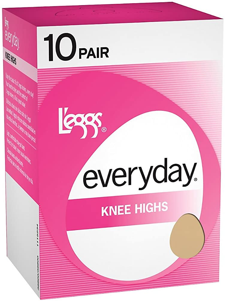 L'eggs Women's Comfortable 10 Pair Everyday Knee Highs Reinforced Toe Panty Hose